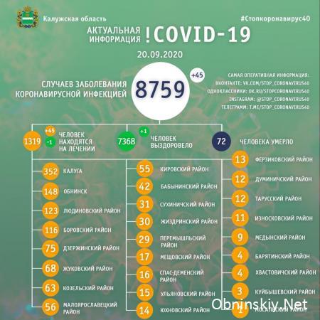 Количество заболевших коронавирусом в Калужской области 20.09.2020