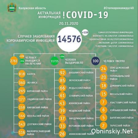 Количество заболевших коронавирусом в Калужской области 20.11.2020