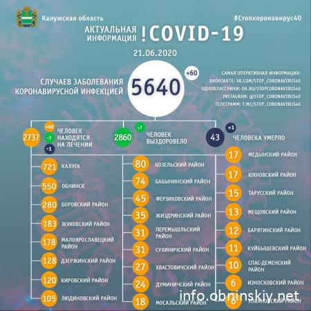 Количество заболевших коронавирусом в Калужской области 21.06.2020