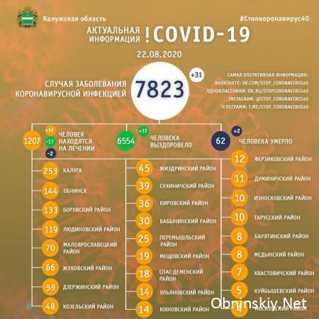 Количество заболевших коронавирусом в Калужской области 22.08.2020