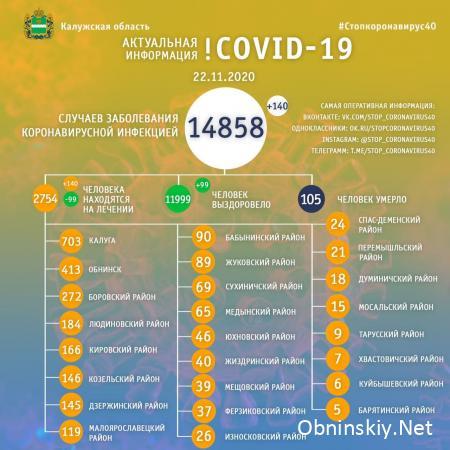 Количество заболевших коронавирусом в Калужской области 22.11.2020