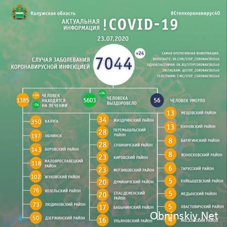 Количество заболевших коронавирусом в Калужской области 23.07.2020