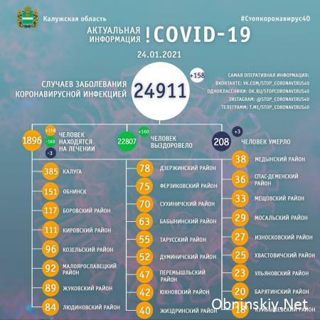 Количество заболевших коронавирусом в Калужской области 24.01.2021