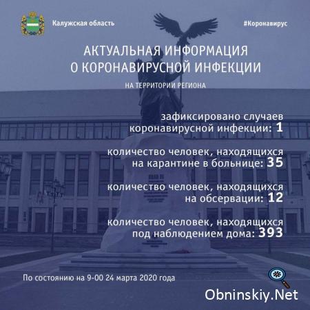 Количество заболевших коронавирусом в Калужской области 24.03.2020