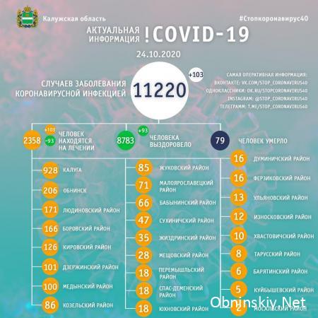 Количество заболевших коронавирусом в Калужской области 24.10.2020