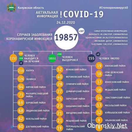 Количество заболевших коронавирусом в Калужской области 24.12.2020