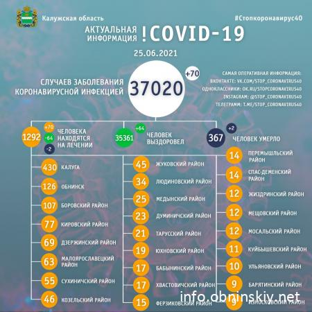 Количество заболевших коронавирусом в Калужской области 25.06.2021