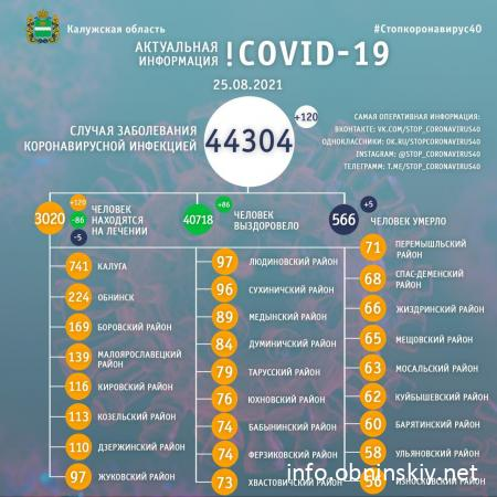 Количество заболевших коронавирусом в Калужской области 25.08.2021
