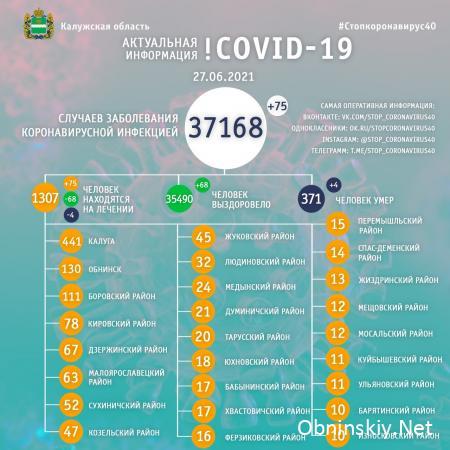 Количество заболевших коронавирусом в Калужской области 27.06.2021