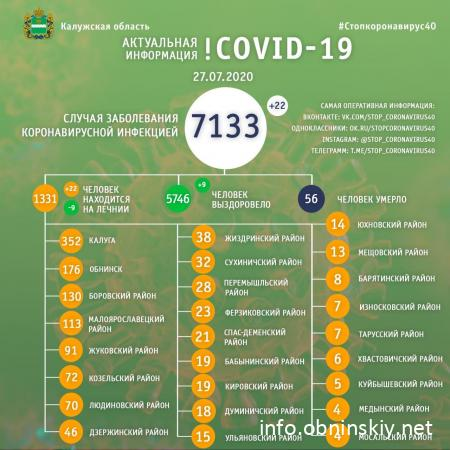 Количество заболевших коронавирусом в Калужской области 27.07.2020