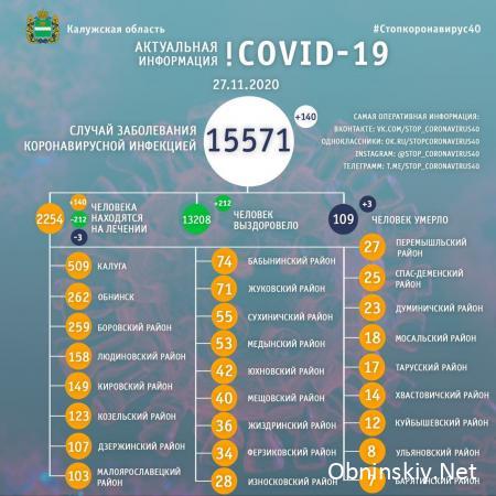Количество заболевших коронавирусом в Калужской области 27.11.2020