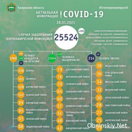 Количество заболевших коронавирусом в Калужской области 28.01.2021