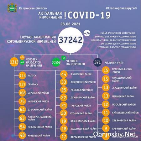 Количество заболевших коронавирусом в Калужской области 28.06.2021