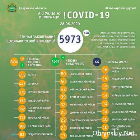 Количество заболевших коронавирусом в Калужской области 28.06.2020
