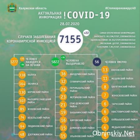 Количество заболевших коронавирусом в Калужской области 28.07.2020