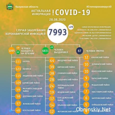 Количество заболевших коронавирусом в Калужской области 28.08.2020