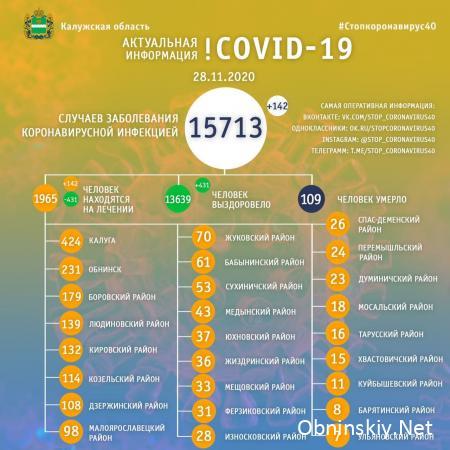 Количество заболевших коронавирусом в Калужской области 28.11.2020