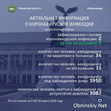 Количество заболевших коронавирусом в Калужской области 29.03.2020