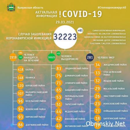 Количество заболевших коронавирусом в Калужской области 29.03.2021