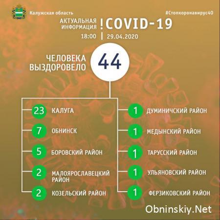 Количество вылечившихся от коронавируса в Калужской области 29.04.2020