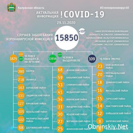Количество заболевших коронавирусом в Калужской области 29.11.2020