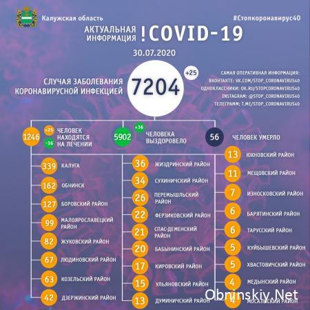 Количество заболевших коронавирусом в Калужской области 30.07.2020