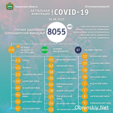 Количество заболевших коронавирусом в Калужской области 30.08.2020