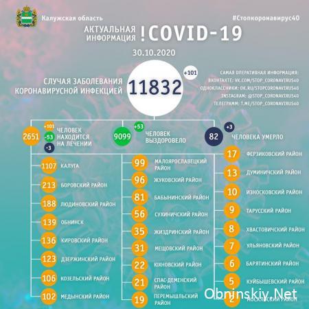 Количество заболевших коронавирусом в Калужской области 30.10.2020
