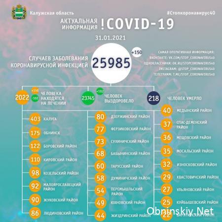 Количество заболевших коронавирусом в Калужской области 31.01.2021