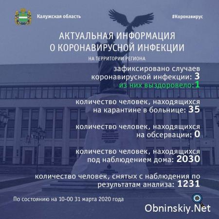 Количество заболевших коронавирусом в Калужской области 31.03.2020