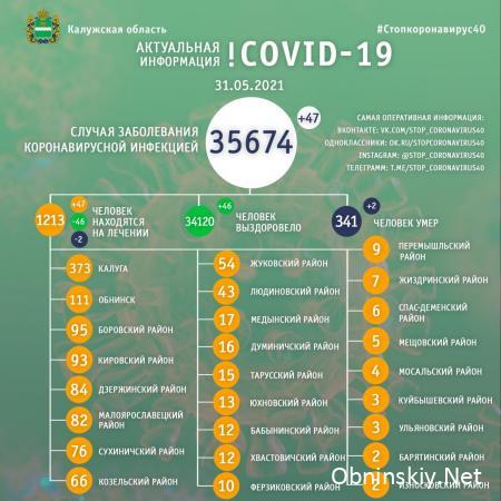 Количество заболевших коронавирусом в Калужской области 31.05.2021